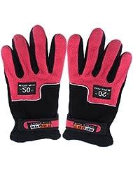 Guantes de lana - TOOGOO(R) Guantes ajustables de dedos de Sra al aire libre a prueba de viento completa termica de invierno de esqui ciclismo (rojo de rosa)