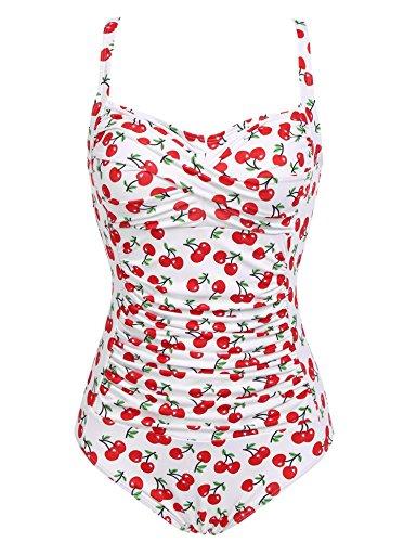 Keelied Damen Vintage 50er Jahre Badeanzug Bademode Monokini Gepolstert Biniki Gerafft Schwimmanzug mit Verstellbaren Trägern X-Large Weiß Rot (80er-jahre-badeanzug)