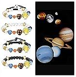 BESTEEL 4 PZ Sistema Solare Nove Pianeti Bracciali Perline per Uomo Donna Coppia Braccialetto Intrecciato Universo Galassia Diffusore Bracciali Lava, Regalo Ideale Lava
