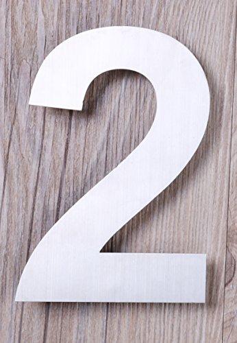 Qt moderno piccolo-Numero civico 4, colore acciaio spazzolato (numero 2), dimensioni compatte, galleggiante aspetto, facile (Kit Targa Hardware)