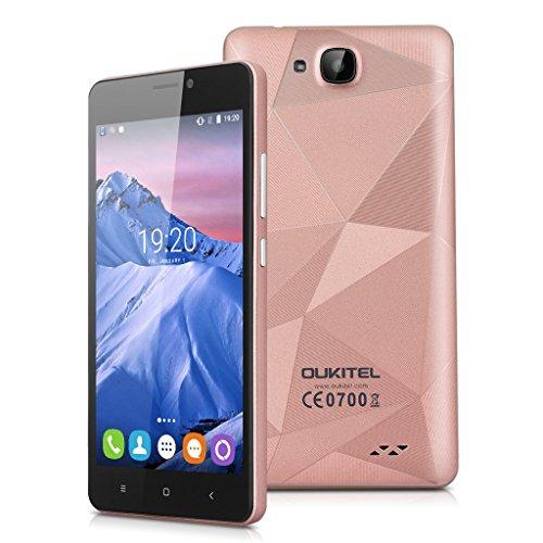 Oukitel C3 - 3G Smartphone Android 6.0 Libre Multitáctil (Pantalla 5'', MT6580 Quad Core 1.3GHz, 1GB RAM, 8GB ROM, 5.0MP Cámara), Oro Rosa