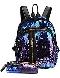 UEB 2pcs/Set Zaino con Paillettes Glitterati + Astuccio Portapenne Borsa da Scuola per Bambini Ragazze