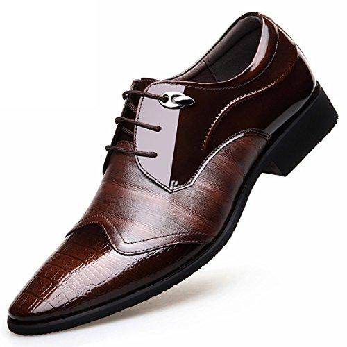 Kyfw Hommes Hommes Sur Chaussures En Cuir Verni Vers La Version Coréenne De L'angleterre Cuir Marron De L'homme