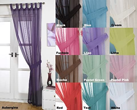 Woven Voile Tab Top Curtain Panels - Free Tieback Included (Aubergine, 60