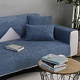 Copridivano angolare [Antiscivolo] Couch Cover Cotone e lino Four Seasons Universal Divano Protector Stile nordico Semplice moderno Combinazione domestica Slipcovers- striscia blu,70x160cm(28x63in)