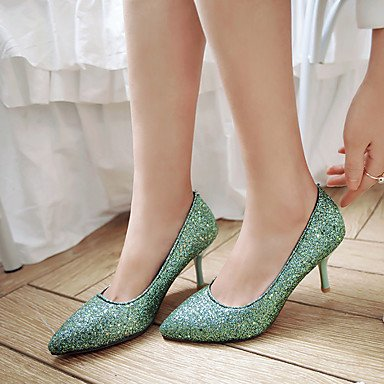 Talloni delle donne Primavera Estate tacco Altro similpelle abito da sposa a spillo Altri Blu Verde Argento Green