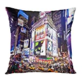 TEPEED Throw Pillow Cover City New York January 6 Illuminated Facades of Broadway Theaters on 2011 in Times NYC Night Street Decorative Pillow Case Home Decor Square 18x18 Inches(45x45cm) Pillowcase
