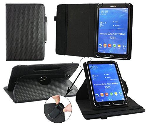 Emartbuy® AlpenTab 7 Zoll Tablet PC Universal ( 7 - 8 Zoll ) GepolsterteDesign Schwarz 360GradrotierendeStandFolioGeldbörseTascheHülle + Schwarz Eingabestift