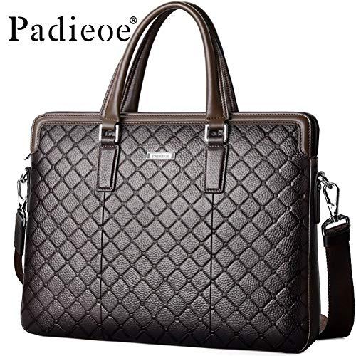 Luxus Aktentasche Aus Leder (LMSHM Aktentasche Für Männer Luxus Echtes Leder Dokumente Mode Diamantgitter Business Handtasche 15 Zoll Laptoptasche)