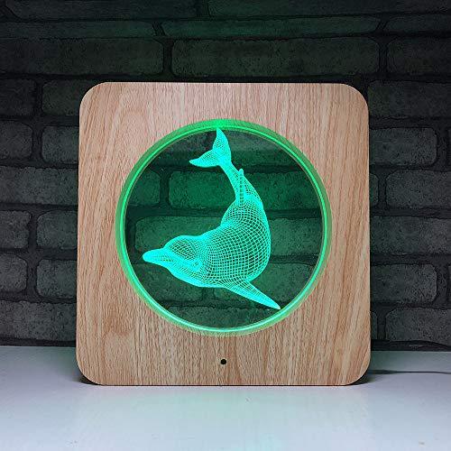 BUG-L Dolphin 3D Illusion Lampe Dekoration Handwerk, 7 Farben Automatische Ersatz Touch Lampe Schlafzimmer Dekoration Lampe Kinder Kreative