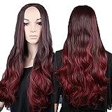 Perruque Femme SANS FRANGE Cheveux synthétiques 62cm Longue Ondulé Pour La vie quotidienne Cosplay Déguisement Costume - Moitié de la tête - Couleur: Noir à Rouge charmant