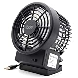 ibohr Small Personal USB Fan Quiet Compact Desk Fan with Twin Powerful Turbo Blades,2 Speeds,Adjustable head for Home,Office,Travel (Black)