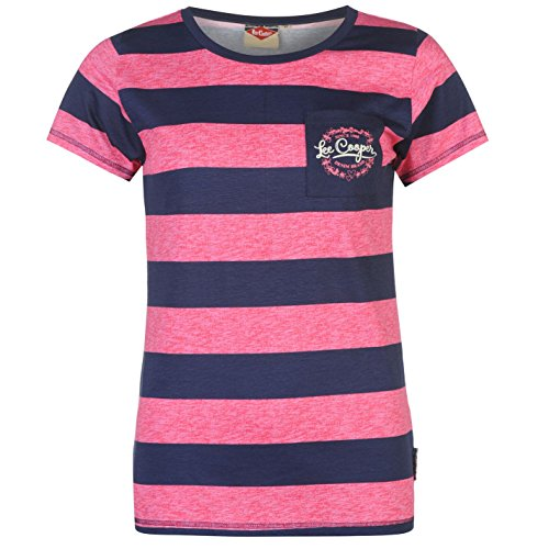 Lee Cooper Damen Texturiert Streifen T Shirt Kurzarm Rundhals Baumwolle Freizeit Navy/Pink 14 (L)