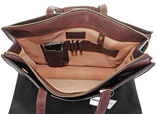 Luxuriöse italienische Leder Classic Ladies dezenten Vintage-Stil Folio Aktentasche Umhängetasche.Enthält Marken schützenden Aufbewahrungstasche Dunkelbraun