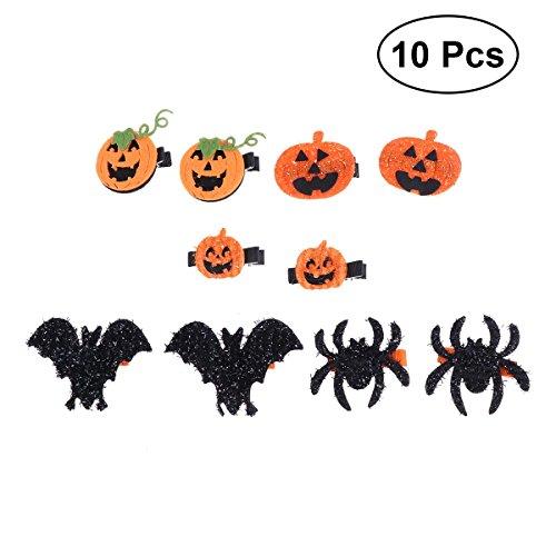 Frcolor 10 stücke Halloween Haarspangen Barrette Kürbis Fledermaus Spinne Haarnadeln Headwrap Haarschmuck für Kleinkinder Teens Kinder