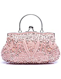 8c84347fd2 VENI MASEE Collection Antique Floral Seed Bead   Sequin Soft Clutch Evening  Bag