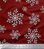Soimoi Rot Baumwolljersey Stoff Schneeflocken Blumen- Stoff drucken Meter 58 Zoll breit