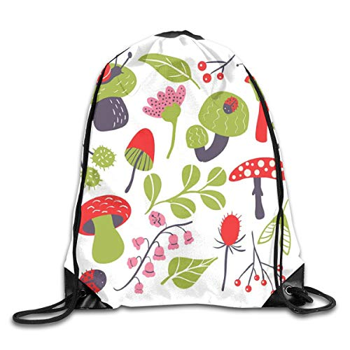 HLKPE Drawstring Backpacks Bags Daypacks,Forest Figures Pink Toned Thistle Lily of The Valley Berry and Snails,5 Liter Capacity Adjustable for Sport Gym Traveling -