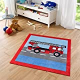 Zala Living Feuerwehr Kinderteppich, Polyamid, Rot/Blau / Grau, 100 x 100 x 0,7 cm