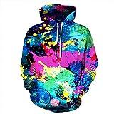 Unisex Paare abstrakte Farbe mit Kapuze Sweatshirt 3D gedruckt Quick Dry Sweat Shirt Langarm Hoodie Taschen Top WY-27
