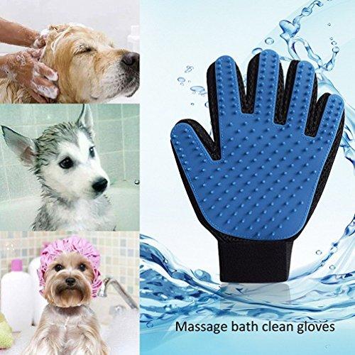 2pcs Pet Handschuhe NuoYo Bürsten Deshedding Fellpflege Haarentferner Badebürste Gloves Haar Remover für Haustier Hund Katze Silikon (Gewebe-haustier-haar-remover)