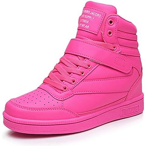 AFFINEST High-top Scarpe da Donna Wedge Tacco alti Stivali Caviglia Faux Leather Sneaker Ragazze Formatori (Seta Zipper)