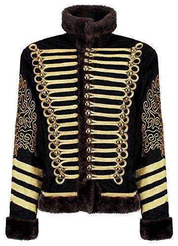 Herren Jimi Hendrix Gold Husar Parade Jacke Faux Pelz - Schwarz & Gold (Herren L)