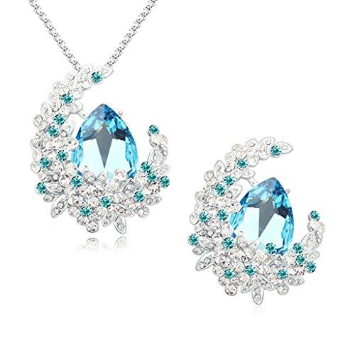 Aooaz Femmes Alliage Bijoux Parures Fleur Goutte Cristal Personnalité Broche Pendentif Collier Banquet Engagement Bleu Marine