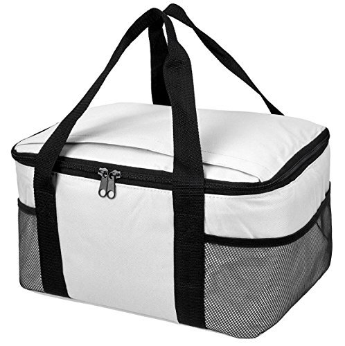 Praktische, leichte Kühltasche mit großem Hauptfach und 2-Wege Reißverschluss Weiß 37 x 20 x 27 cm