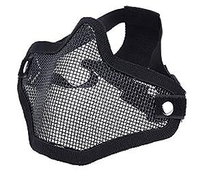 DCCN Demi-Masque de Visage Tactique Métal Mesh, Masque de protection pour CS Airsoft de Paintball Resistant