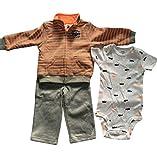 """De los muchachos de bebé 3 piezas La ropa de los juego de copas de agua en color gris y franja naranja de la rebeca con forma de """"con diseño de Capitán en su entrenamiento como en"""", color gris y pantalones de trabajo y el mono completo naranja Talla:6-9 meses"""