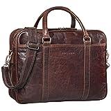 STILORD 'Dante' Businesstasche Leder groß elegante Aktentasche Umhängetasche Schultertasche 15.6 Zoll Office Büro echtes Rindsleder, Farbe:espresso - braun