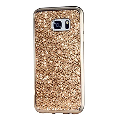 Samsung Galaxy S7 Edge Case, KSHOP Ultra Thin TPU Silicone Bumper Case Cover with [Electroplating Technology] Bling Glitter Soft Gel Back Case Cover for Samsung Galaxy S7 Edge-Gold