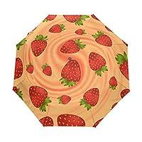 Umbrella Customize 3 Folds Fantasy Strawberry Cream Swirl Windproof Auto Open Close Lightweight Anti-UV