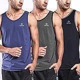 Ogeenier Hombre Deporte Camiseta sin Mangas de Secado Rápido para Running Fitness Ejercicio 3 Paquete