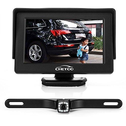 "Rückfahrkamera Nachtsicht Wasserdicht Einparkhilfe an Nummernschild anbringbar 170 Sichtwinkel 12 LEDs + 4.3\"" LCD Auto Monitor"