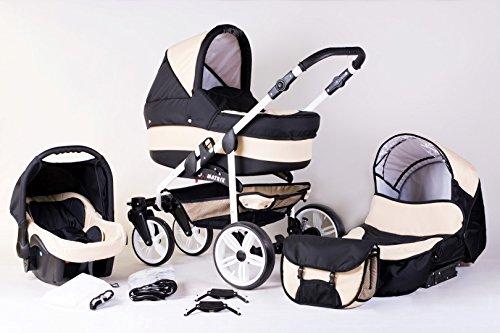 Matrix Modernes Travelsystem Kinderwagen Babywagen Buggy Kinderwagen System + Wickeltasche + Regenschutz + Insektenschutz (3in1 (inkl. Babyschale), schwarz-sand)