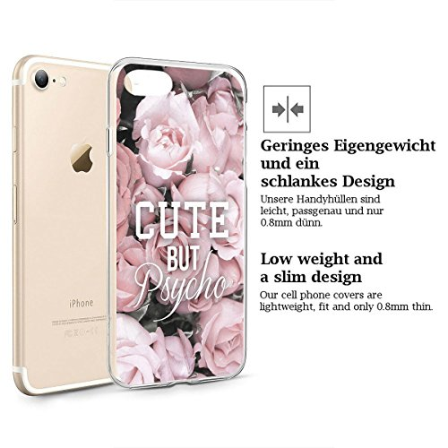 finoo | iPhone 6 / 6S Handy-Tasche Schutzhülle | ultra leichte transparente Handyhülle aus flexiblen Silikon | stylisches TPU Cover Case mit Motiv | King one schwarz Cute but Psycho
