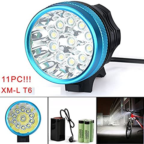 Bicycle Light, TopTen 11x T6 LED 11000 Lumens 3 Modes Ultra Bright Bike LED Headlamp Head Flashlight with Rechargeable Battery and Charge
