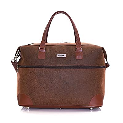 Karabar Berwyn Leather Style Travel Carry On Cabin Hand Luggage Under Seat Shoulder Bag, Approved for Ryanair, EasyJet, British Airways, Virgin Atlantic, Flybe, Wizzair and Many More - hand-luggage
