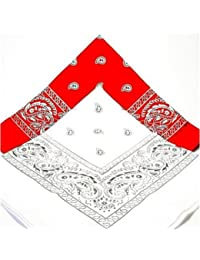 PAISLEY BANDANA scarf duo 1 x WHITE 1 x RED