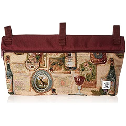 Handi Pockets 2c7wn Storage Accessory Walker, Tapestry, Wine with Zipper and Flap