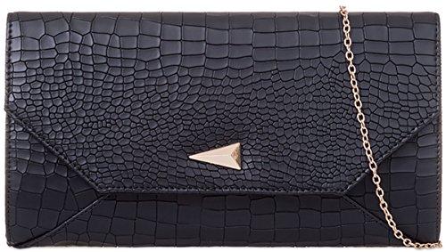 UKFS Damen Croc drucken Lackleder Falten-Umschlag-Abend-Handtasche Handtasche (Schwarz) (Handtasche Croc Clutch)