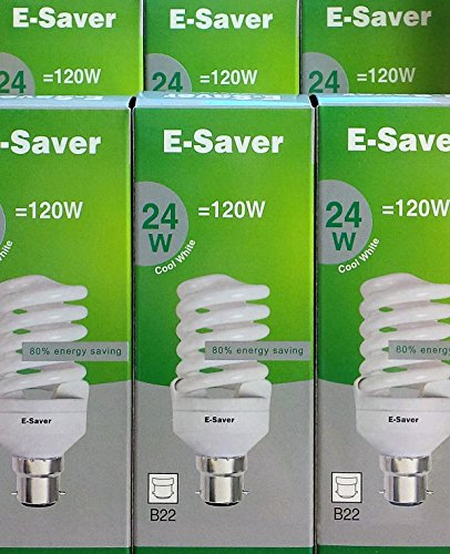 Pack of 6, E-Saver CFL Full Spiral, 24w = 120 watt, Cool White 4200k, Compact Fluorescent Lamp, Bayonet Cap (BC, B22, B22d) 1450 Lumen, T2, 80%-85% Energy Saving Light Bulb, Flicker Free, 10,000 Hours Life Time…