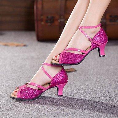 XIAMUO nicht anpassbare Damen Tanzschuhe Latein Paillette Cuban Heel Outdoor mehr Farben Silber