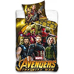 AHS Marvel Avengers - Juego de Cama Infantil (140 x 200 cm, 100% Algodón), Diseño de los Vengadores