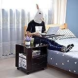 Mode Life Funktional Nachttisch verstellbarem Holz Nachttisch mit Schubladen, Rollen und offenen Ablage, 3Farben schwarz walnuss/weiß/weiß Ahorn Black Walnut (Upgrade)