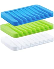 Baskety Self Draining Drying Mat Silicone Soap Dish Holder Tray (11.5 x 8.5 x 1.5 cm, Multicolour) - Pack of 3