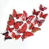 XCGZ Wandtattoos Wandsticker Aufkleber Wandaufkleber 12 Stücke 3D Doppelschicht Schmetterling Wandaufkleber An Der Wand Für Wohnkultur DIY Schmetterlinge Kühlschrankmagnet Aufkleber Raumdekoration