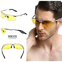 soxick HD polarizzati occhiali per la guida notturna in metallo, Occhiali da sole sportivi, lenti gialle, Uomo, Silver